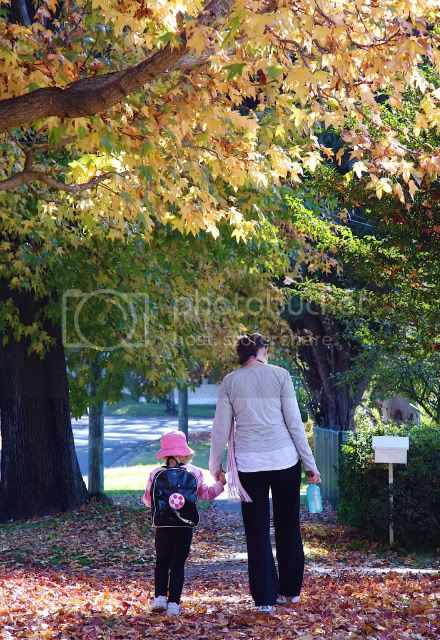 lucy &amp;amp; mum in autumn leaves 5.09